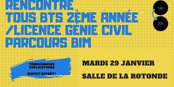 Mardi prochain, échange entre nos étudiants de BTS et les étudiants de la nouvelle licence Génie civil, parcours BIM