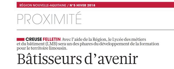 Le LMB de Felletin dans la dernière revue du magazine «Nouvelle Aquitaine»