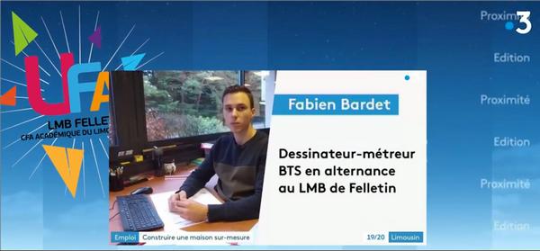 Reportage sur France 3 : un apprenti à l'honneur